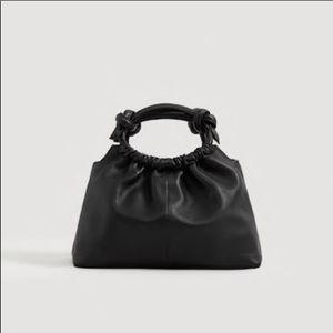 Mango Knot Detail Leather Top Handle Handbag